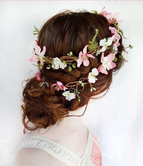 trouwkapsel-bloemen